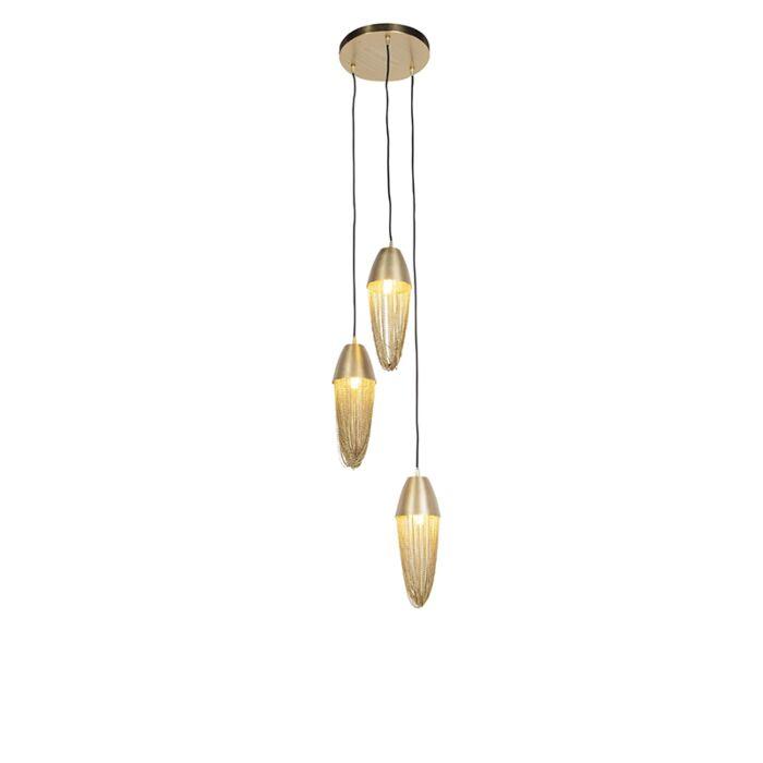 Lámpara-colgante-oriental-dorada-3-luces---CATENA