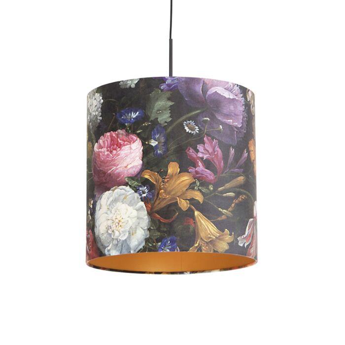 Lámpara-colgante-pantalla-terciopelo-flores-oro-40cm---COMBI