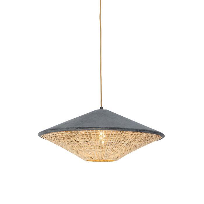 Lámpara-colgante-rústica-terciopelo-gris-mimbre-60cm---FRILLS-CAN