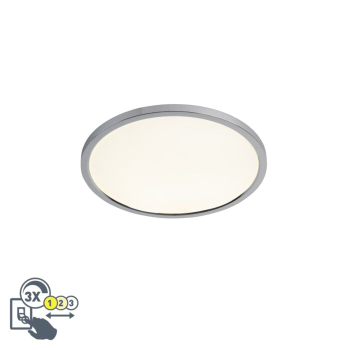 Plafón-redondo-moderno-cromado-45cm-LED-IP44---FLAT