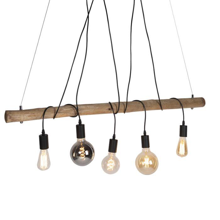 Lámpara-colgante-rústica-madera-5-luces-negras---DAMI