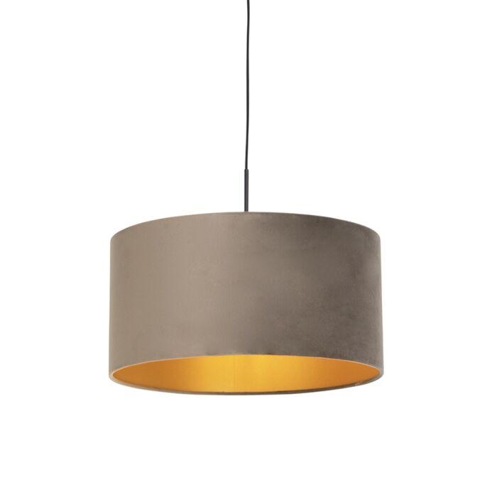 Lámpara-colgante-pantalla-terciopelo-taupe-oro-50cm--COMBI