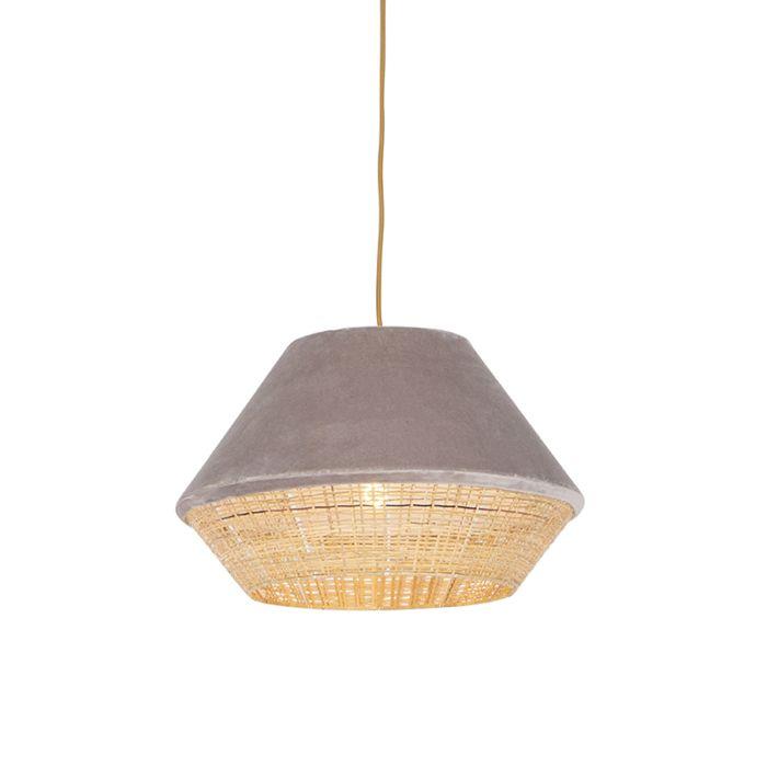 Lámpara-colgante-rústica-terciopelo-verde-beige-45x28cm---FRILLS-CAN
