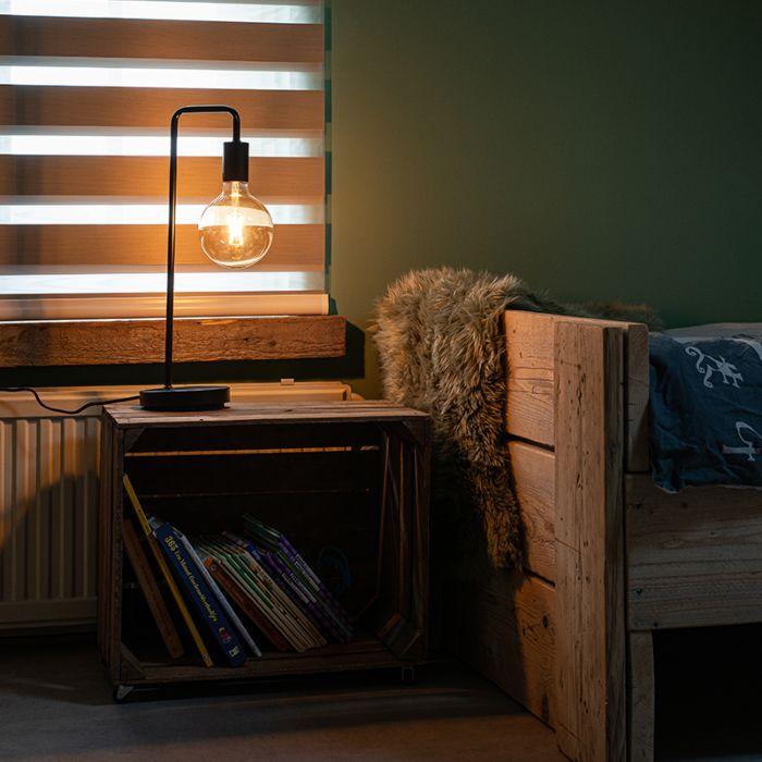 Lámpara-de-mesa-moderna-negra---FACIL
