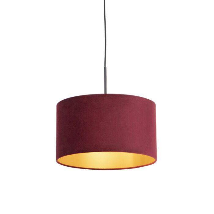 Lámpara-colgante-pantalla-terciopelo-rojo-oro-35cm--COMBI