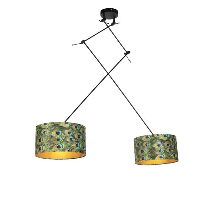 Lámpara-colgante-pantallas-terciopelo-pavo-real/oro-35cm---BLITZ-II-Zwart