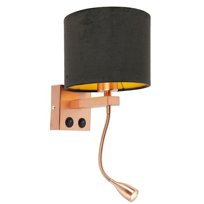 Aplique-moderno-cobre-pantalla-terciopelo-negro/oro---BRESCIA