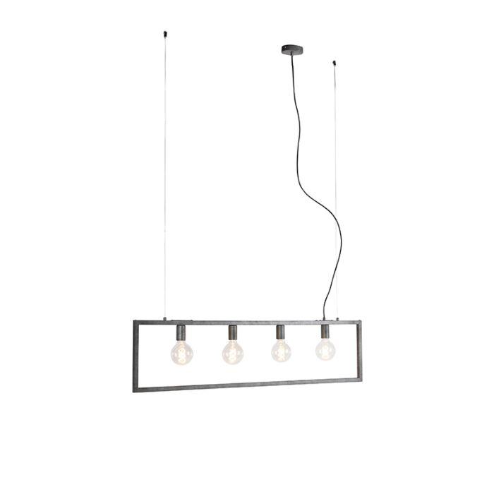 Lámpara-colgante-moderna-plateado-envejecido-4-luces---SIMPLE-CAGE