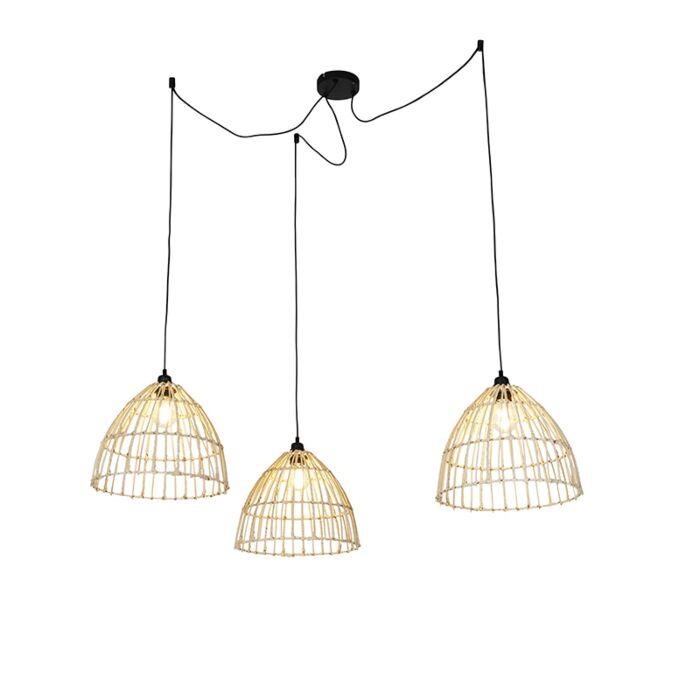 Lámpara-colgante-country-con-3-pantallas-de-ratán---Cava
