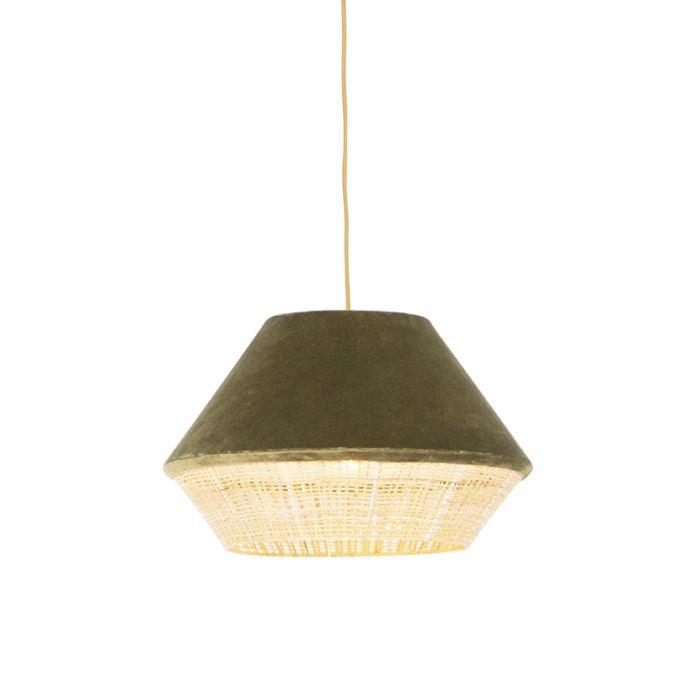 Lámpara-colgante-rústica-terciopelo-verde-mimbre-45x28cm---FRILLS-CAN