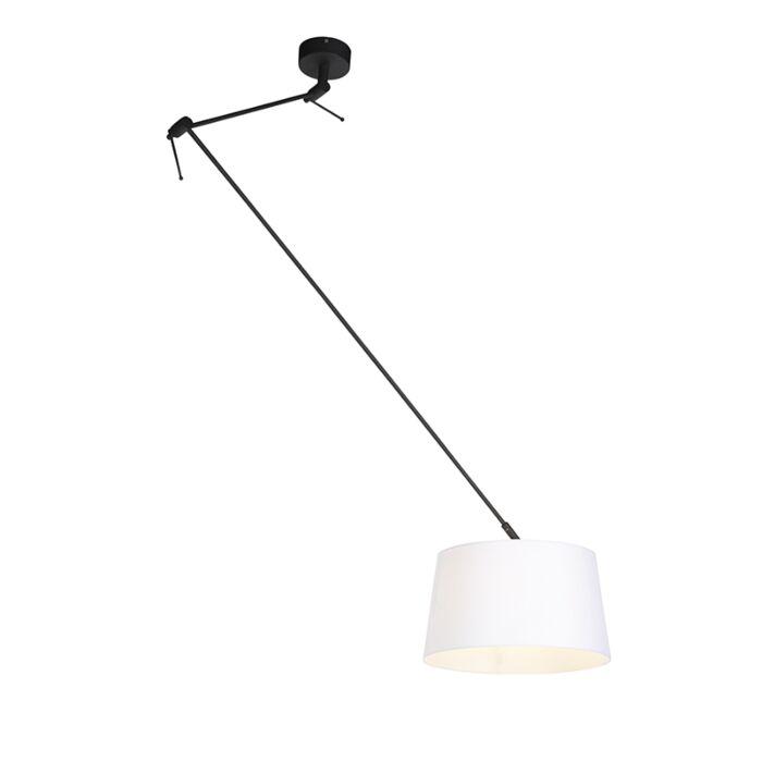 Lámpara-colgante-pantalla-lino-blanco/oro-35cm---BLITZ-I-zwart