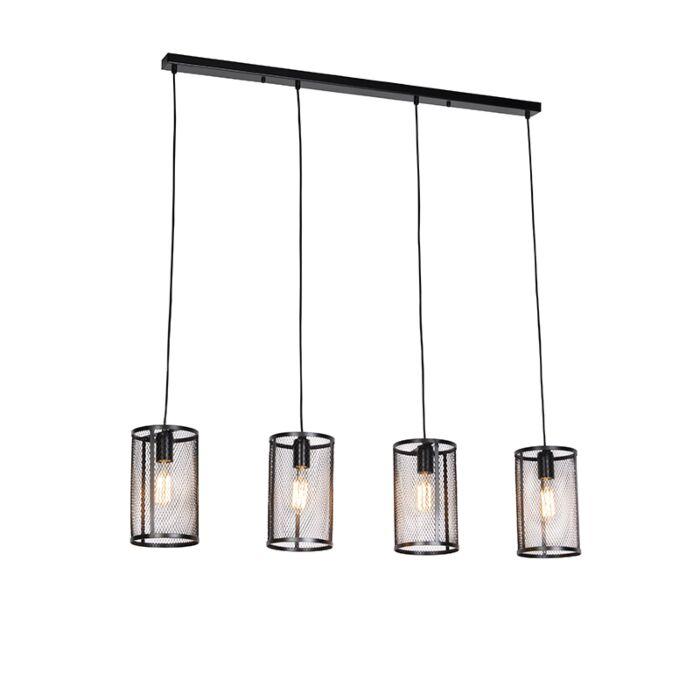 Lámpara-colgante-industrial-negra-4-luces---GAUZE