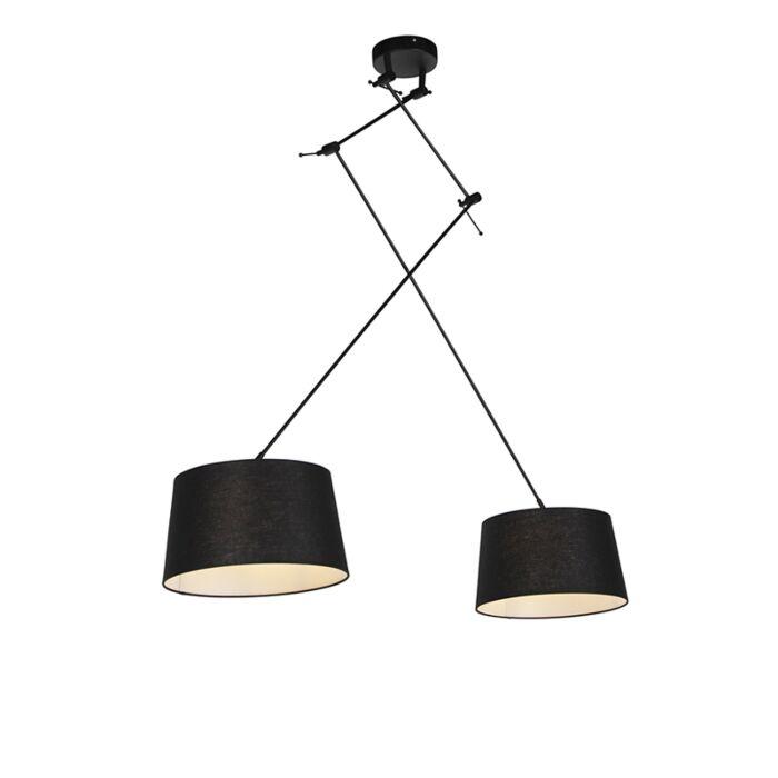 Lámpara-colgante-pantallas-lino-negro-35-cm---BLITZ-II-zwart