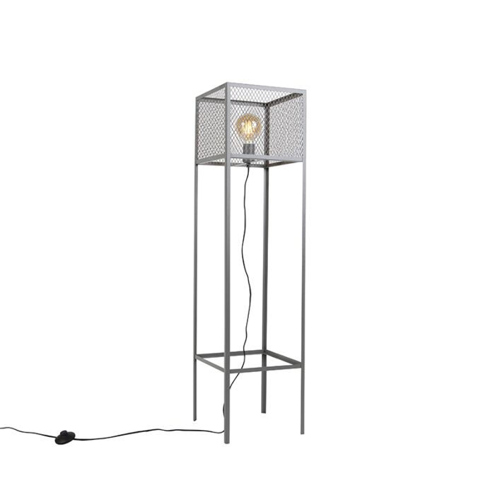 Lámpara-de-pie-cuadrada-industrial-plata-envejecida--CAGE-Robusto