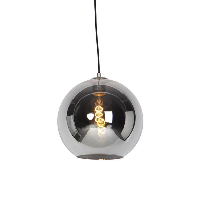 Lámpara-colgante-Art-Deco-acero-vidrio-ahumado-30cm---PALLOT