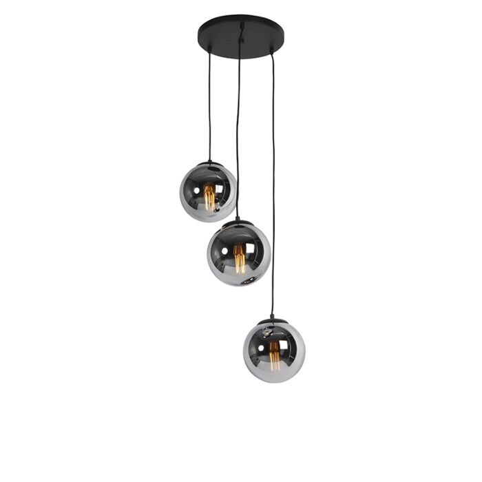 Lámpara-colgante-Art-Déco-negra-cristal-ahumado-3-luces---PALLON