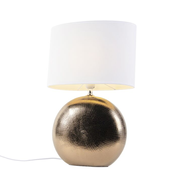 Lámpara-de-mesa-romántica-cobre-pantalla-blanca-34cm---CLEO