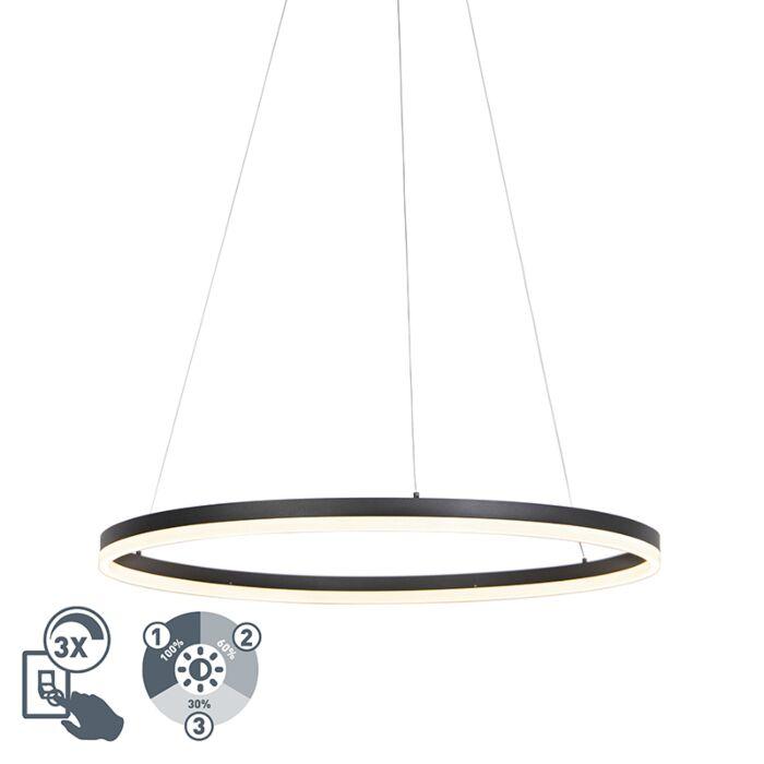 Lámpara-colgante-diseño-negro-80cm-regulador-3-estados-LED---ANELLO