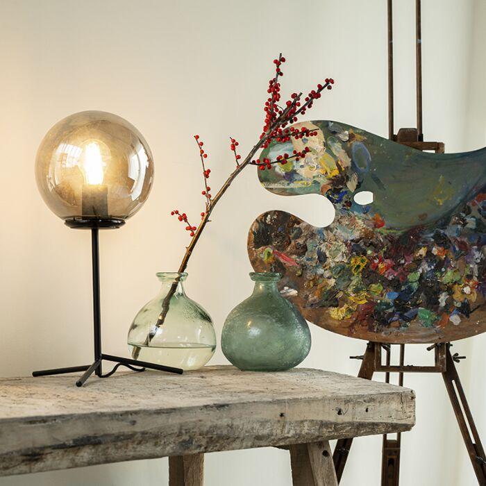 Lámpara-de-mesa-art-deco-negra-vidrio-ahumado-45.5cm---PALLON-
