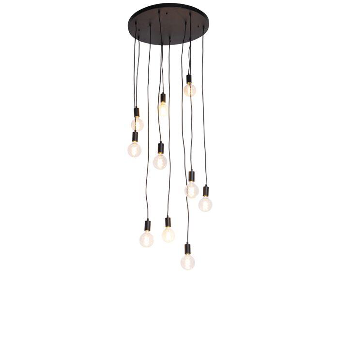 Lámpara-colgante-moderna-negra-60cm-10-luces---FACIL