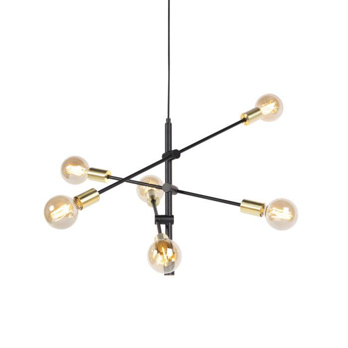 Lámpara-colgante-industrial-negra/oro-78cm-6-luces---SYDNEY-Bondi
