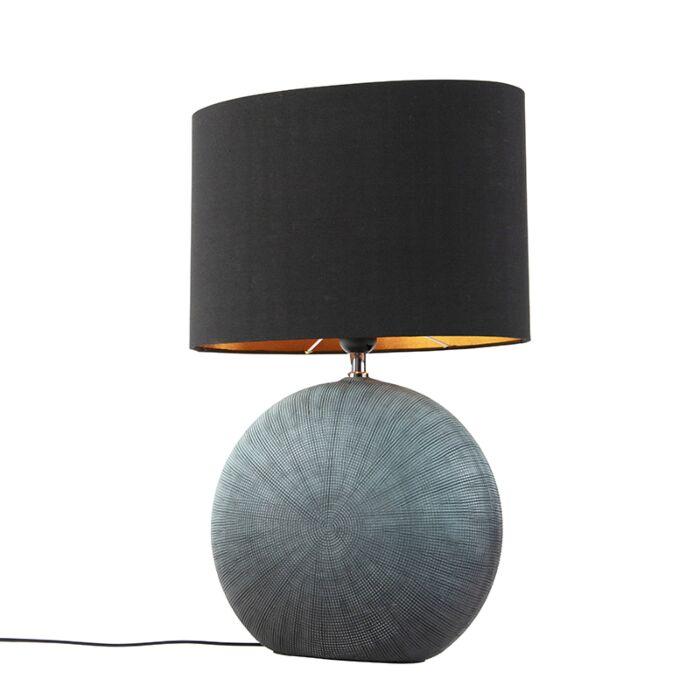 Lámpara-de-mesa-rústica-azul-pantalla-negra-34-cm---CLEO