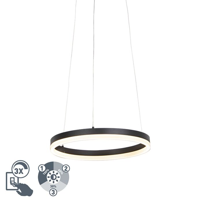 Lámpara-colgante-de-anillo-de-diseño-negro-40-cm-con-LED-y-dimmer---Anello
