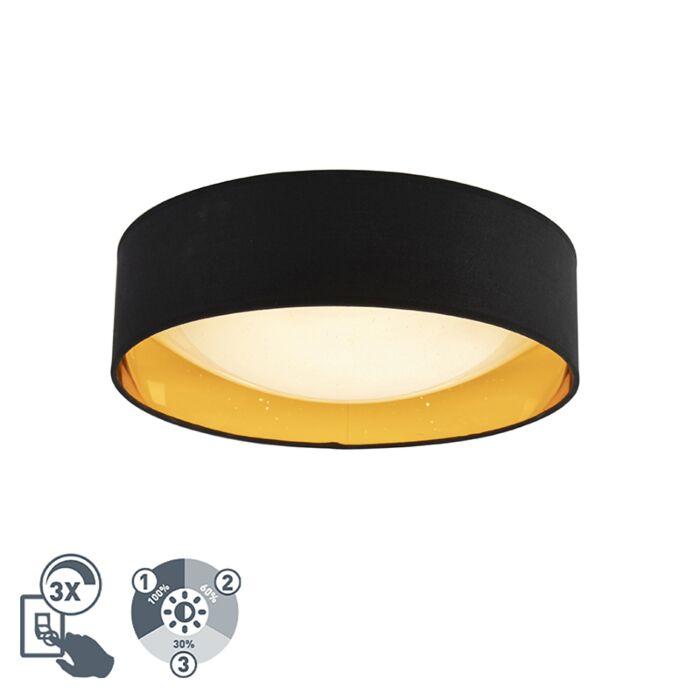 Plafón-diseño-negro/oro-40-cm-LED---DRUM-Combi