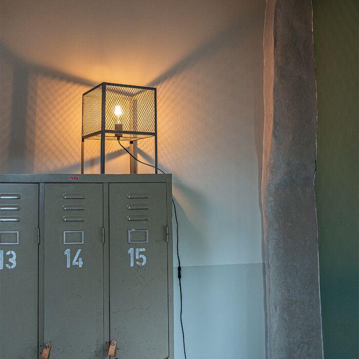 Lámpara-de-mesa-industrial-plata-envejecida---CAGE-Robusto