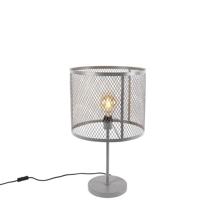 Lámpara-de-mesa-industrial-redonda-plata-envejecida---CAGE-Robusto
