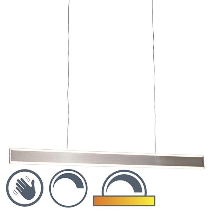 Lámpara-colgante-moderna-de-acero-con-LED-de-100-cm-de-tenue-a-cálida---Ollie