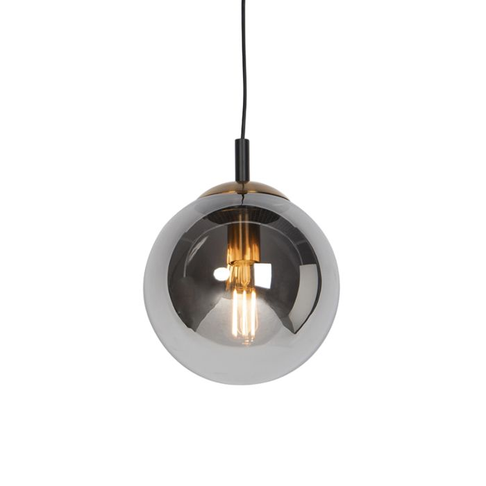 Lámpara-colgante-Art-Deco-negra-cristal-ahumado-25cm---PALLON-Bulla