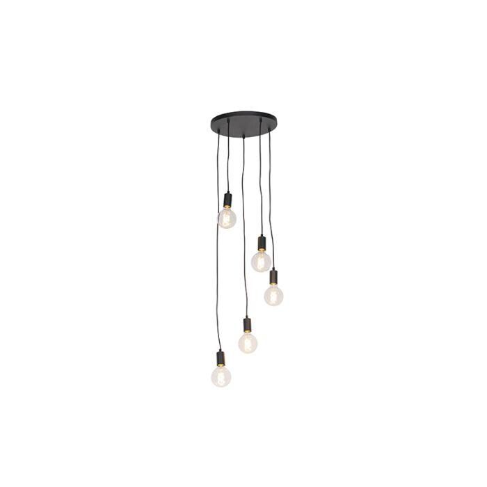 Lámpara-colgante-moderna-negra-35cm-5-luces---FACIL