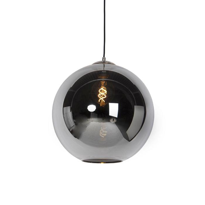 Lámpara-colgante-Art-Deco-acero-vidrio-ahumado-40cm---PALLOT