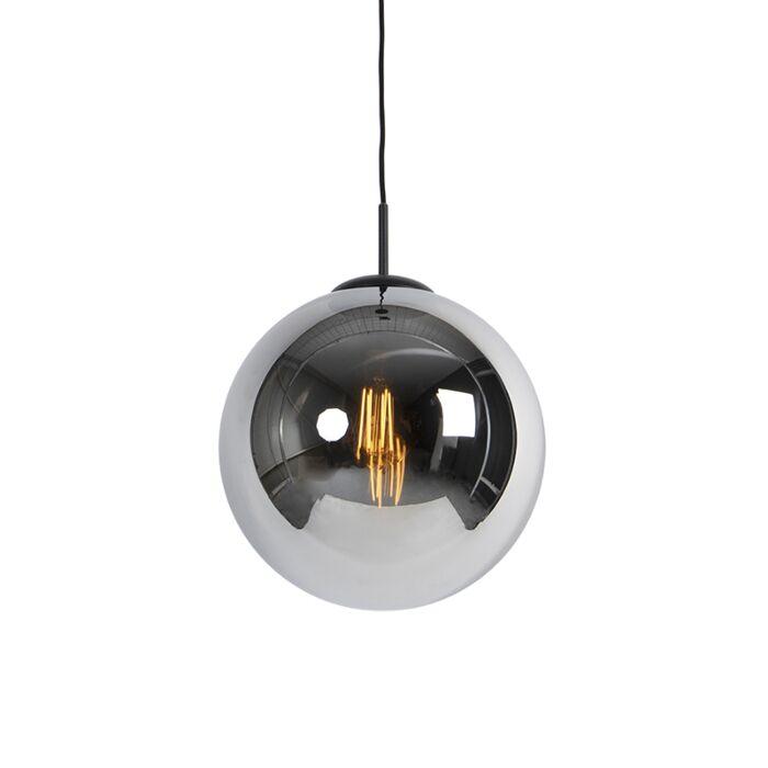 Lámpara-colgante-Art-Deco-negra-cristal-ahumado-1-luz---PALLON