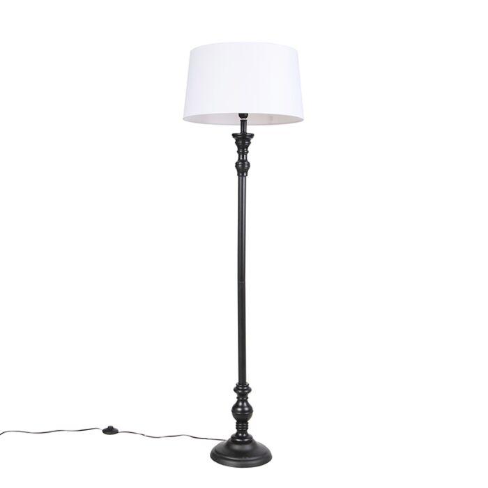 Lámpara-de-pie-negra-con-pantalla-de-lino-blanco-45cm---Classico