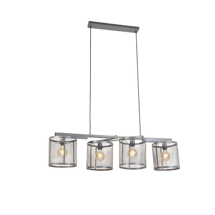 Lámpara-colgante-industrial-plata-envejecida-4-luces---CAGE-Robusto