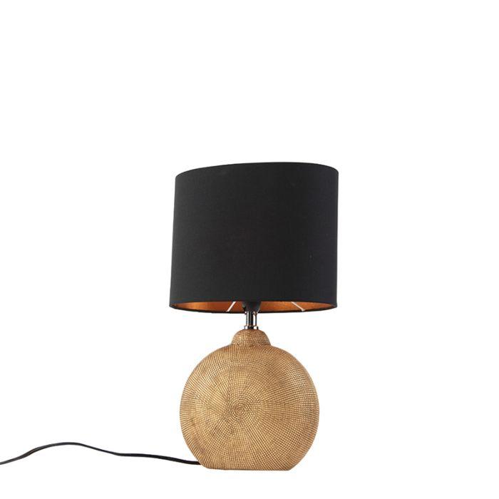 Lámpara-de-mesa-bronce-pantalla-negra/oro-23cm---CLEO