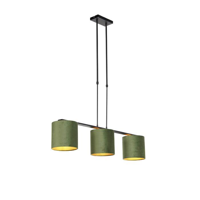 Lámpara-colgante-con-pantallas-de-terciopelo-verde-con-oro-20cm---Combi-3-Deluxe
