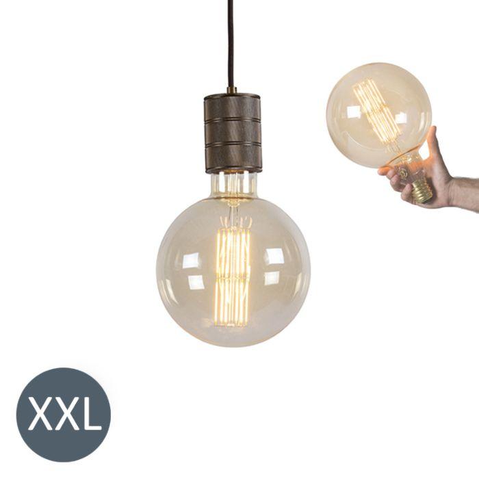 Lámpara-colgante-MEGAGLOBE-bronce-con-bombilla-LED-regulable