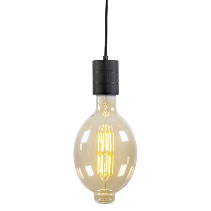 Lámpara-colgante-CALEX-retro-negra-con-casquillo-E40-200cm