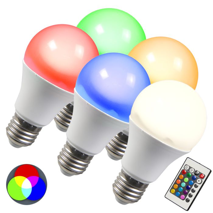 Set-de-5-bombillas-LED-RGB-E27-10W-blanco-cálido
