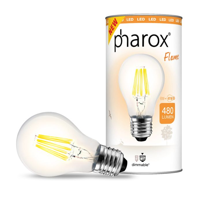 Bombilla-PHAROX-LED-Flame-E27-6W-480LM