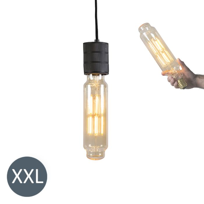 Lámpara-colgante-TOWER-negra-con-bombilla-LED-regulable