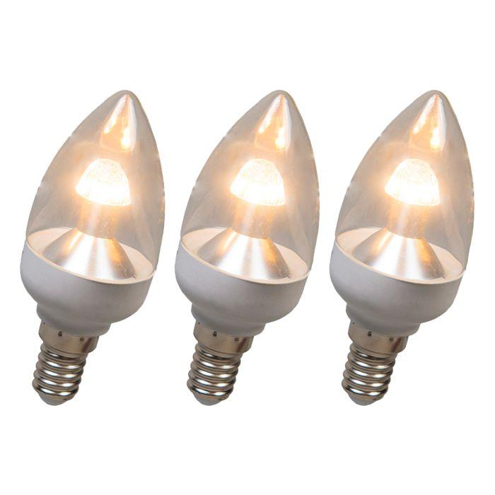 Set-de-3-bombillas-de-vela-LED-E14-4W-250-lúmenes-blanco-cálido-regulables