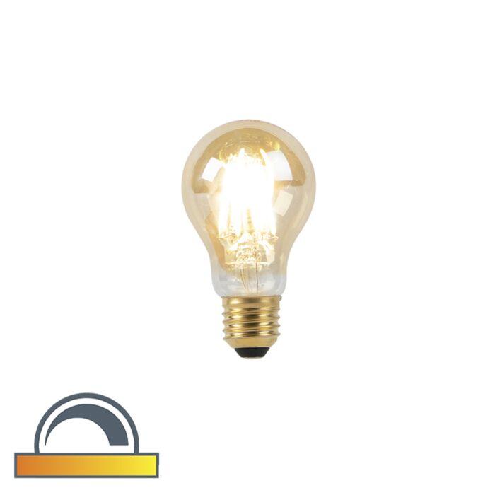 Lámpara-LED-E27-A60-8W-2000-2600K-tenue-a-cálido-filamento-dorado