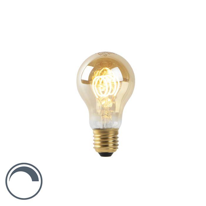 Lámpara-LED-A60-E27-4W-2200K-filamento-espiral-dorado-regulable