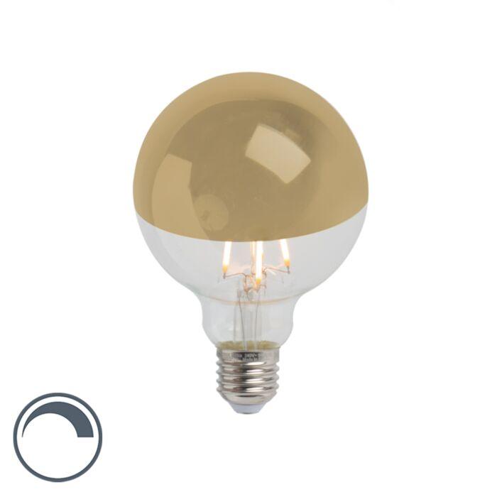 Bombilla-E27-LED-filamento-cúpula-espejo-oro-regulable-G95-280lm-2300K