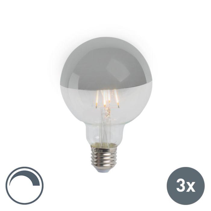Set-3-bombillas-LED-regulable-espejo-plateado-E27-G95-280lm-2300K