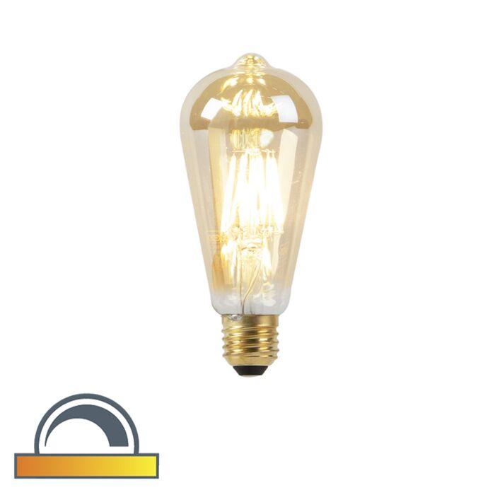 Lámpara-LED-E27-ST64-8W-2000-2600K-tenue-a-cálido-filamento-dorado